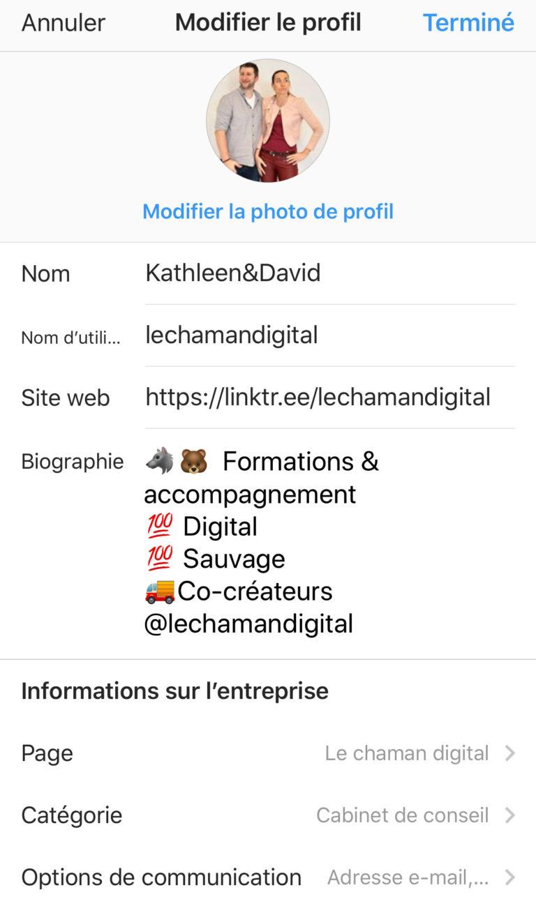 Capture de l'écran du profil instagram du chaman digital